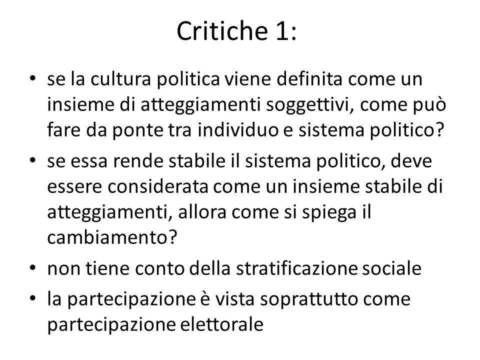 Critiche 1: se la cultura politica viene definita come un insieme di atteggiamenti soggettivi, come può fare da ponte tra individuo e sistema politico