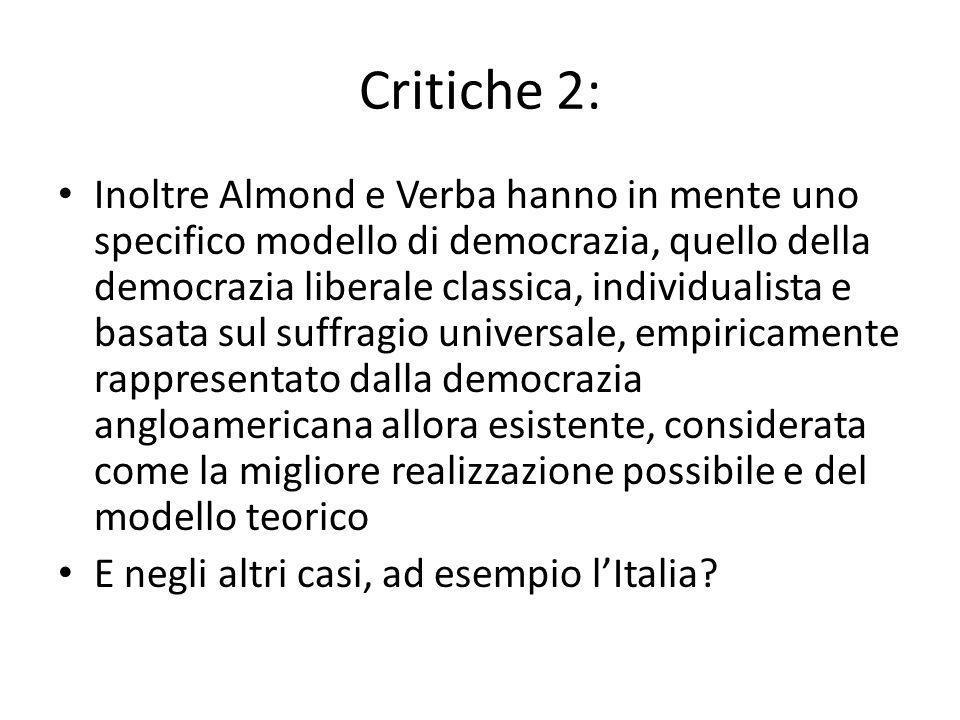 Critiche 2: Inoltre Almond e Verba hanno in mente uno specifico modello di democrazia, quello della democrazia liberale classica, individualista e bas