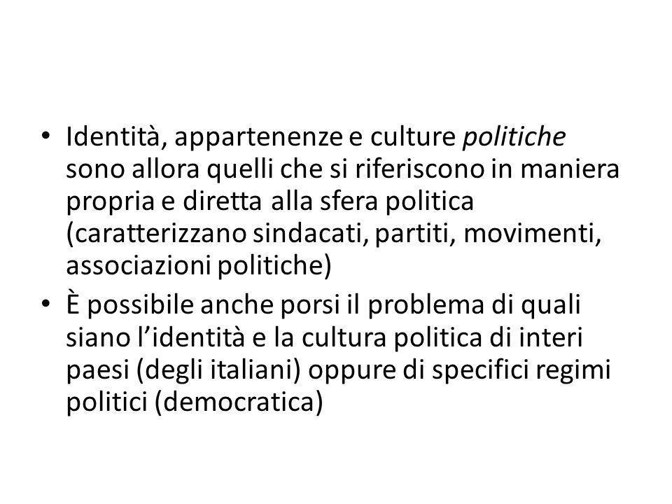 Identità, appartenenze e culture politiche sono allora quelli che si riferiscono in maniera propria e diretta alla sfera politica (caratterizzano sind