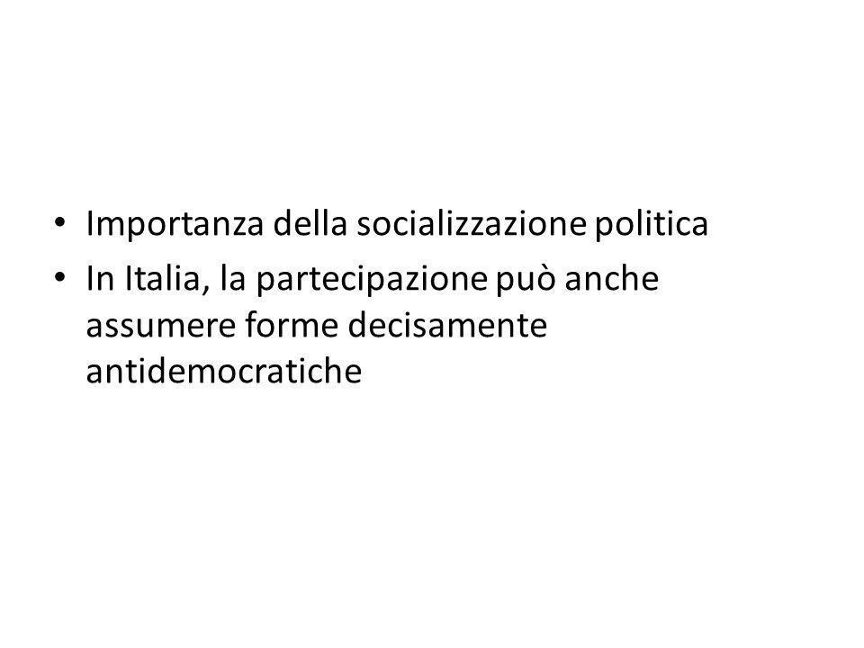 Importanza della socializzazione politica In Italia, la partecipazione può anche assumere forme decisamente antidemocratiche