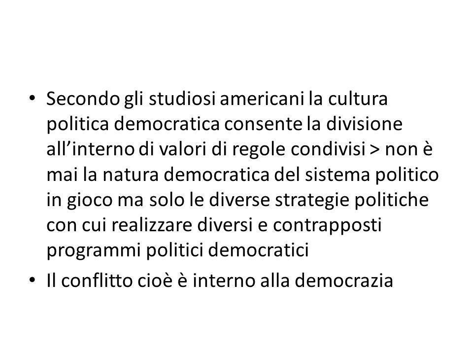 Secondo gli studiosi americani la cultura politica democratica consente la divisione all'interno di valori di regole condivisi > non è mai la natura d