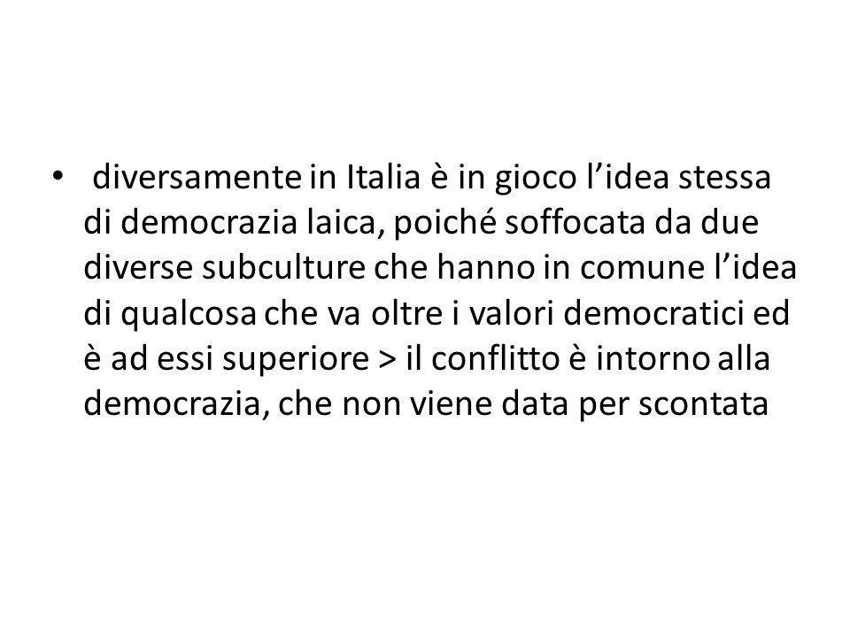 diversamente in Italia è in gioco l'idea stessa di democrazia laica, poiché soffocata da due diverse subculture che hanno in comune l'idea di qualcosa