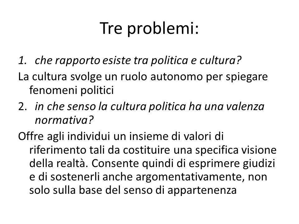 Tre problemi: 1.che rapporto esiste tra politica e cultura? La cultura svolge un ruolo autonomo per spiegare fenomeni politici 2.in che senso la cultu