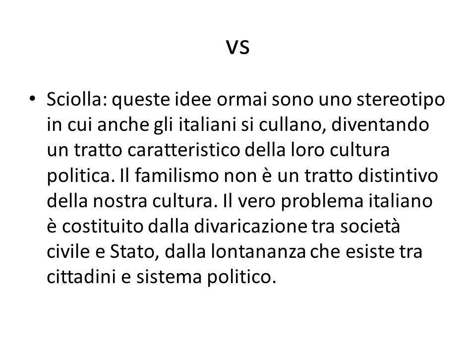 vs Sciolla: queste idee ormai sono uno stereotipo in cui anche gli italiani si cullano, diventando un tratto caratteristico della loro cultura politic