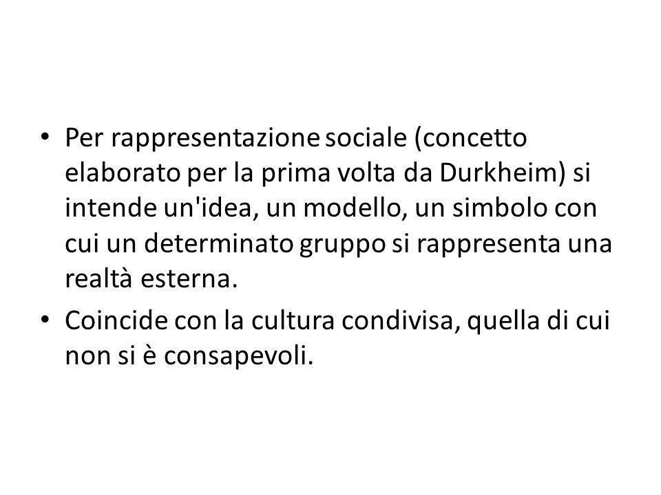 Per rappresentazione sociale (concetto elaborato per la prima volta da Durkheim) si intende un'idea, un modello, un simbolo con cui un determinato gru