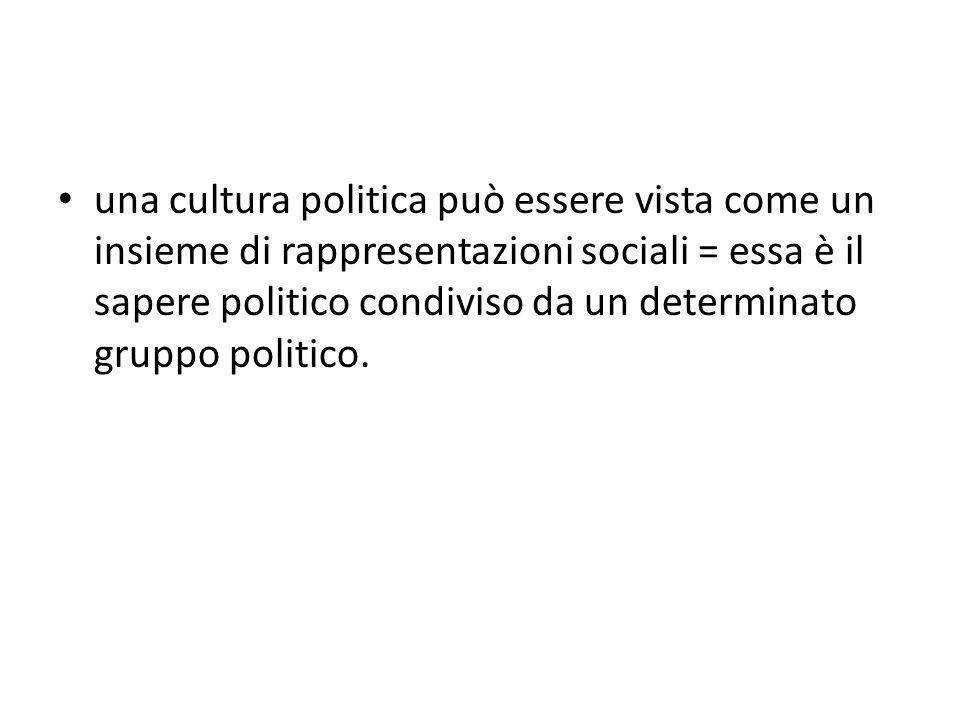 una cultura politica può essere vista come un insieme di rappresentazioni sociali = essa è il sapere politico condiviso da un determinato gruppo polit