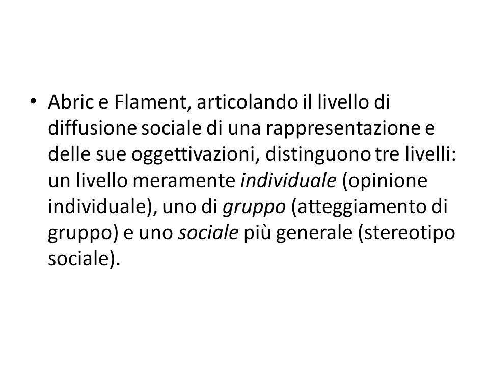 Abric e Flament, articolando il livello di diffusione sociale di una rappresentazione e delle sue oggettivazioni, distinguono tre livelli: un livello