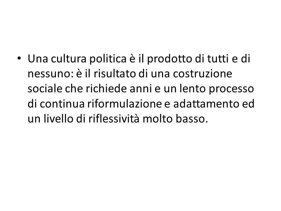 Una cultura politica è il prodotto di tutti e di nessuno: è il risultato di una costruzione sociale che richiede anni e un lento processo di continua