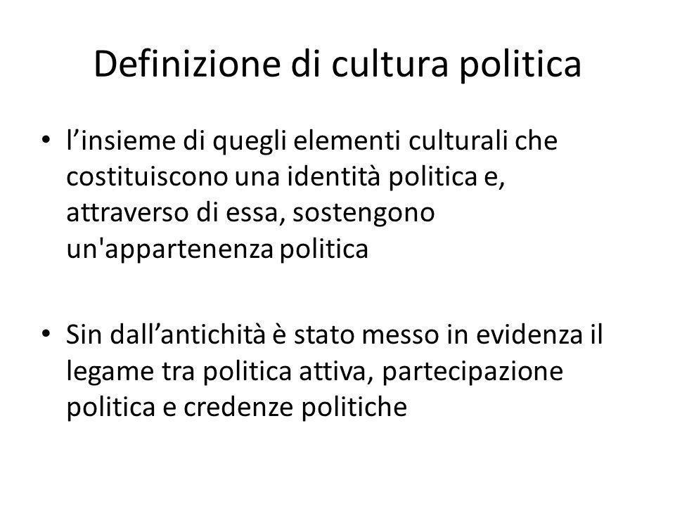 Definizione di cultura politica l'insieme di quegli elementi culturali che costituiscono una identità politica e, attraverso di essa, sostengono un'ap