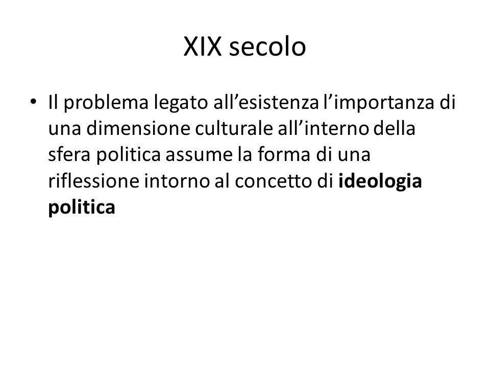 XIX secolo Il problema legato all'esistenza l'importanza di una dimensione culturale all'interno della sfera politica assume la forma di una riflessio