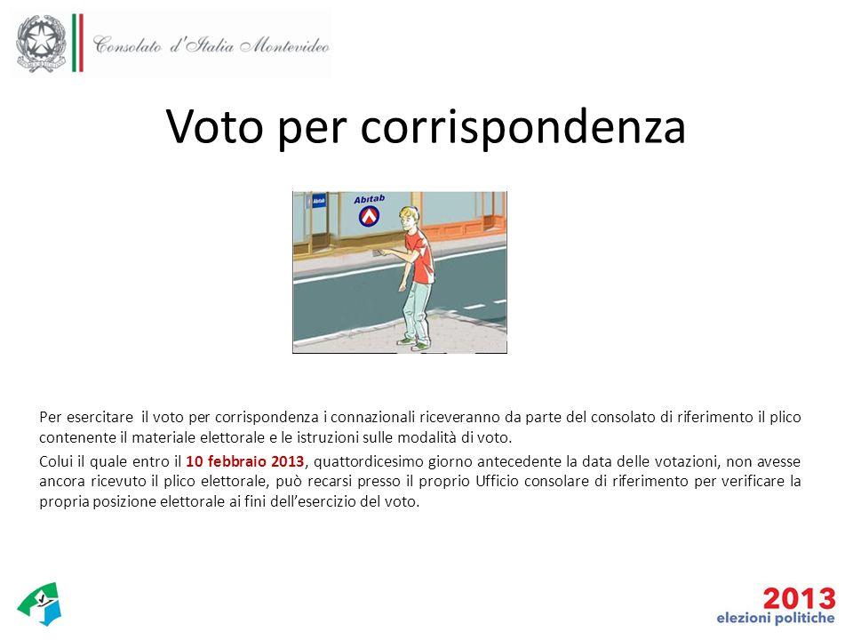 Voto per corrispondenza Per esercitare il voto per corrispondenza i connazionali riceveranno da parte del consolato di riferimento il plico contenente il materiale elettorale e le istruzioni sulle modalità di voto.