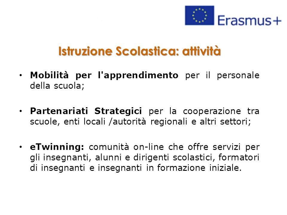 Istruzione Scolastica: attività Mobilità per l'apprendimento per il personale della scuola; Partenariati Strategici per la cooperazione tra scuole, en
