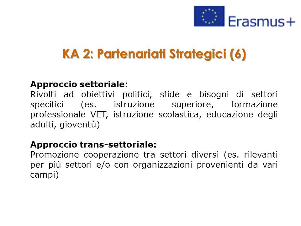 KA 2: Partenariati Strategici (6) Approccio settoriale: Rivolti ad obiettivi politici, sfide e bisogni di settori specifici (es. istruzione superiore,