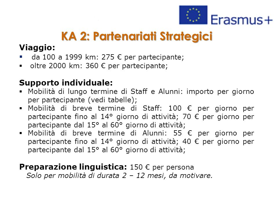 KA 2: Partenariati Strategici Viaggio:  da 100 a 1999 km: 275 € per partecipante;  oltre 2000 km: 360 € per partecipante; Supporto individuale:  Mo
