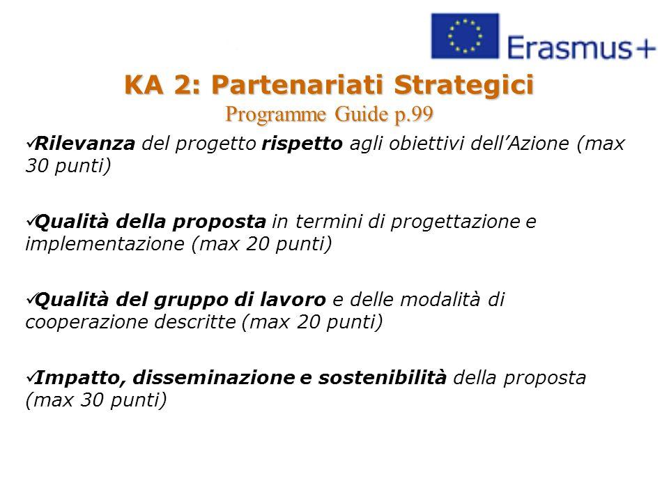 KA 2: Partenariati Strategici Programme Guide p.99 Rilevanza del progetto rispetto agli obiettivi dell'Azione (max 30 punti) Qualità della proposta in