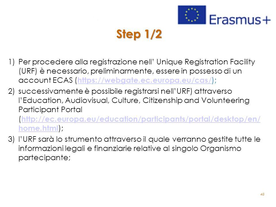 Step 1/2 1)Per procedere alla registrazione nell' Unique Registration Facility (URF) è necessario, preliminarmente, essere in possesso di un account E