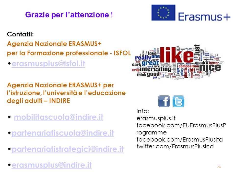 50 Grazie per l'attenzione ! Contatti: Agenzia Nazionale ERASMUS+ per la Formazione professionale - ISFOL erasmusplus@isfol.it Agenzia Nazionale ERASM