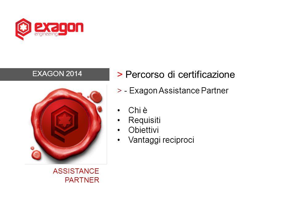 EXAGON 2014 > Percorso di certificazione > - Exagon Assistance Partner Chi è Requisiti Obiettivi Vantaggi reciproci ASSISTANCE PARTNER