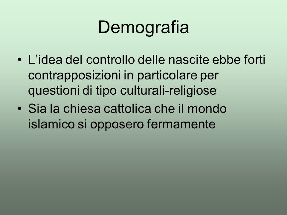 L'idea del controllo delle nascite ebbe forti contrapposizioni in particolare per questioni di tipo culturali-religiose Sia la chiesa cattolica che il