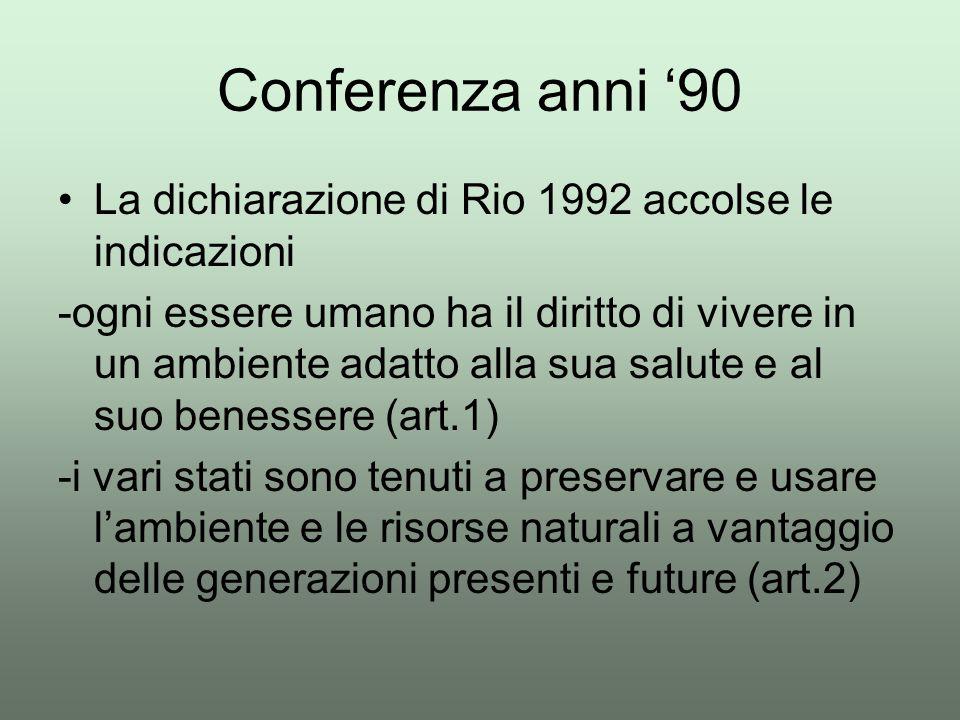 Conferenza anni '90 La dichiarazione di Rio 1992 accolse le indicazioni -ogni essere umano ha il diritto di vivere in un ambiente adatto alla sua salu