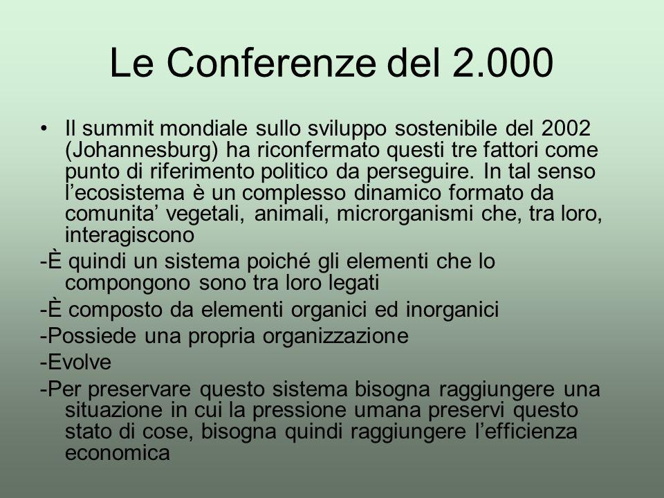 Le Conferenze del 2.000 Il summit mondiale sullo sviluppo sostenibile del 2002 (Johannesburg) ha riconfermato questi tre fattori come punto di riferim