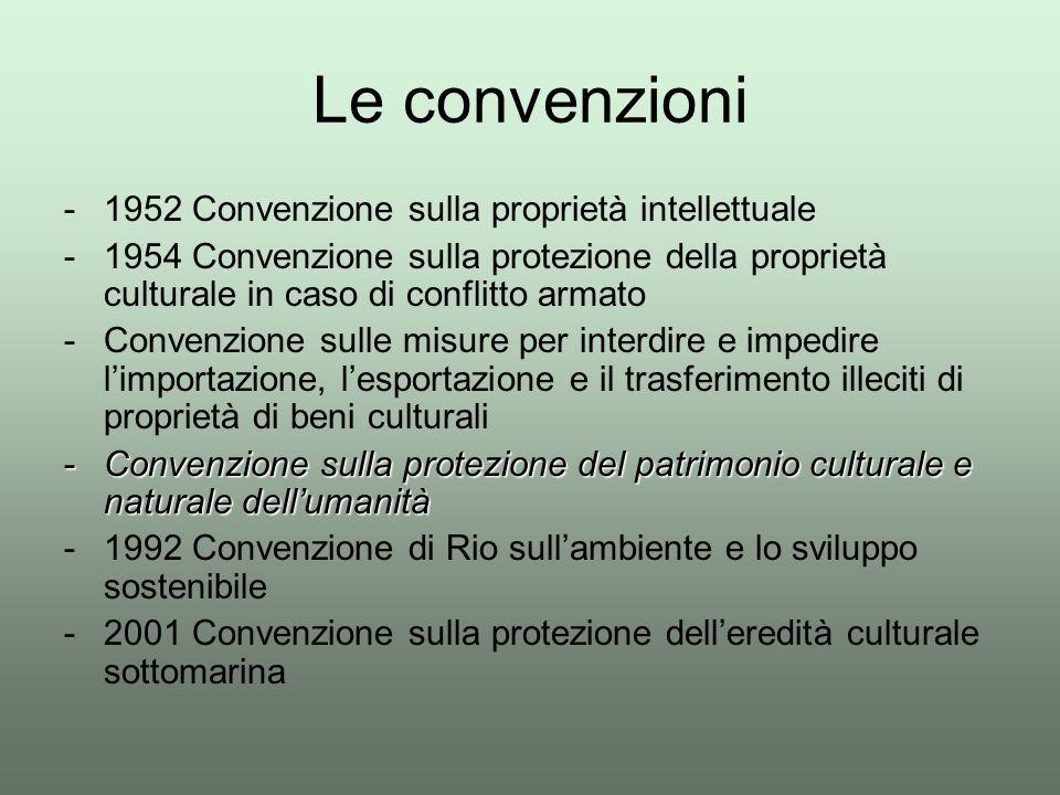 Le convenzioni -1952 Convenzione sulla proprietà intellettuale -1954 Convenzione sulla protezione della proprietà culturale in caso di conflitto armat