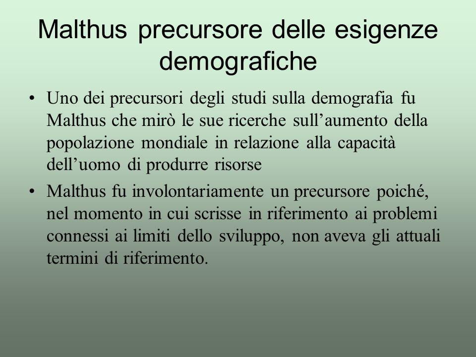Uno dei precursori degli studi sulla demografia fu Malthus che mirò le sue ricerche sull'aumento della popolazione mondiale in relazione alla capacità