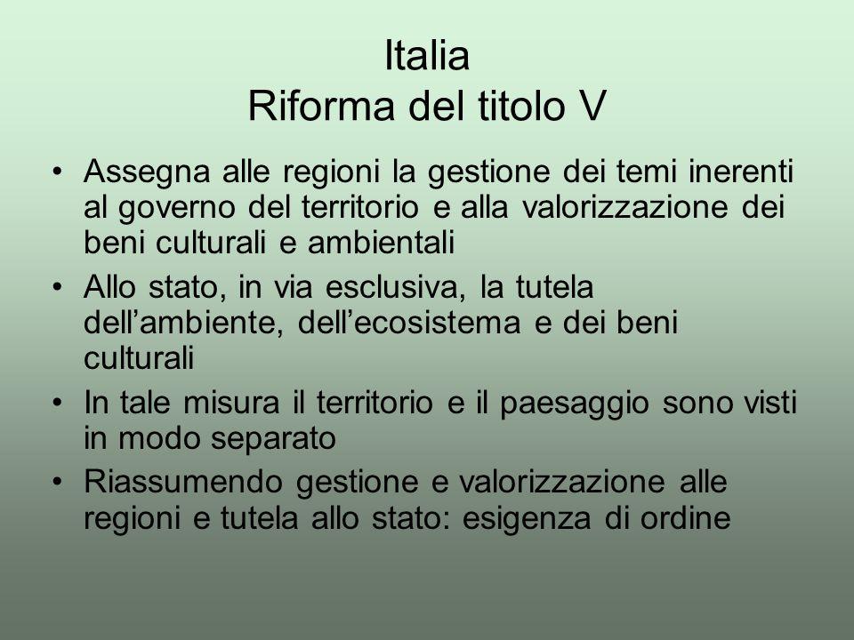 Italia Riforma del titolo V Assegna alle regioni la gestione dei temi inerenti al governo del territorio e alla valorizzazione dei beni culturali e am