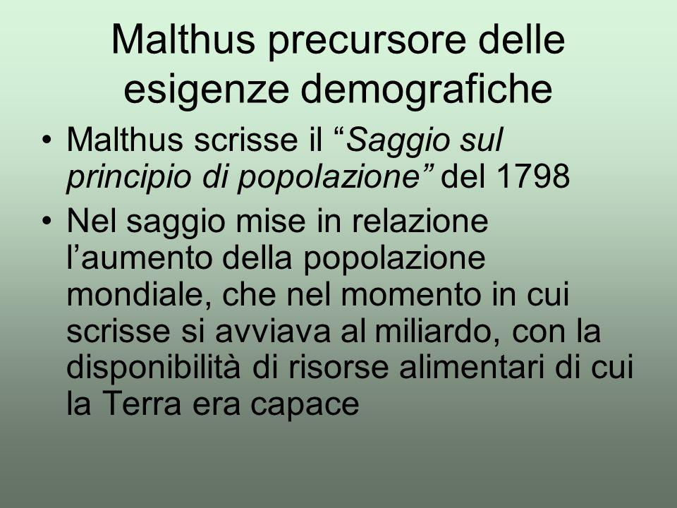 """Malthus scrisse il """"Saggio sul principio di popolazione"""" del 1798 Nel saggio mise in relazione l'aumento della popolazione mondiale, che nel momento i"""