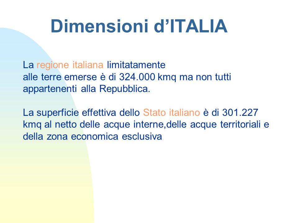 Dimensioni d'ITALIA La regione italiana limitatamente alle terre emerse è di 324.000 kmq ma non tutti appartenenti alla Repubblica.
