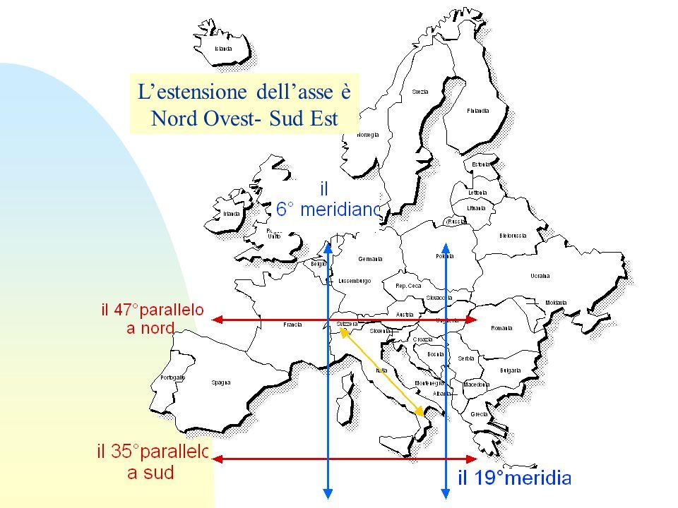 L'estensione dell'asse è Nord Ovest- Sud Est
