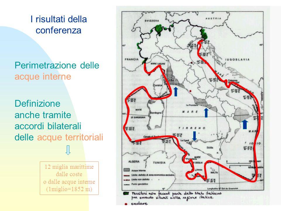 Perimetrazione delle acque interne Definizione anche tramite accordi bilaterali delle acque territoriali I risultati della conferenza 12 miglia marittime dalle coste o dalle acque interne (1miglio=1852 m)