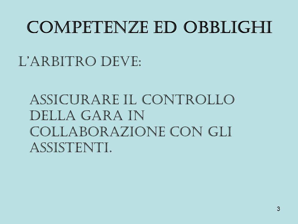 3 COMPETENZE ED OBBLIGHI L'ARBITRO DEVE: ASSICURARE IL CONTROLLO DELLA GARA IN COLLABORAZIONE CON GLI ASSISTENTI.