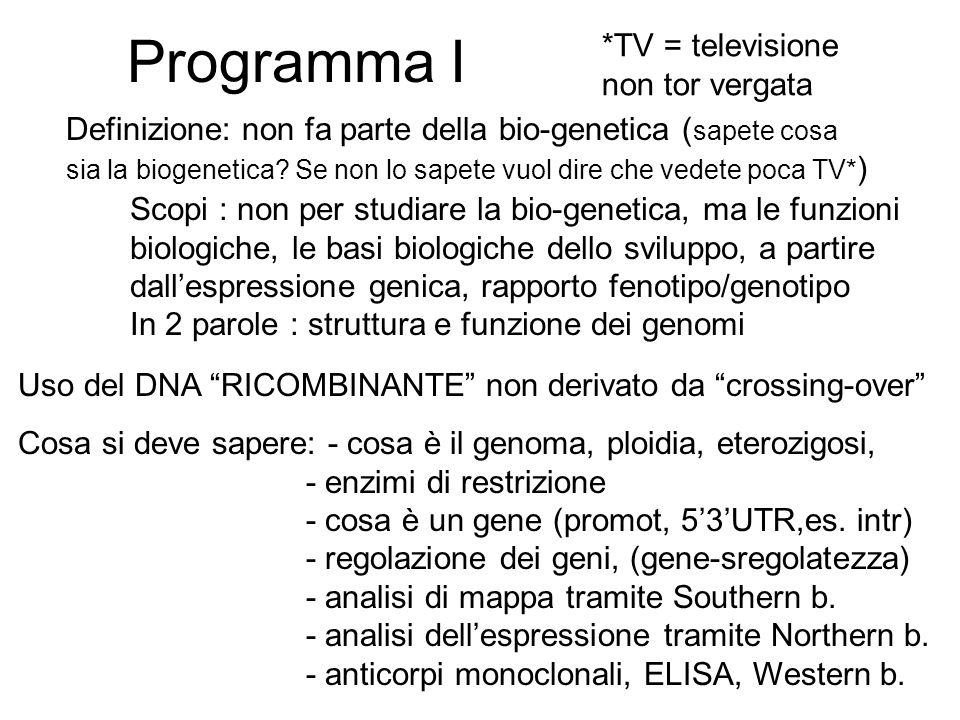 Programma II Cosa vuol dire clonare, perché si clona - Differenza tra clonaggio di cellule e clonaggio di sequenze di DNA, l'RNA non si clona direttamente.