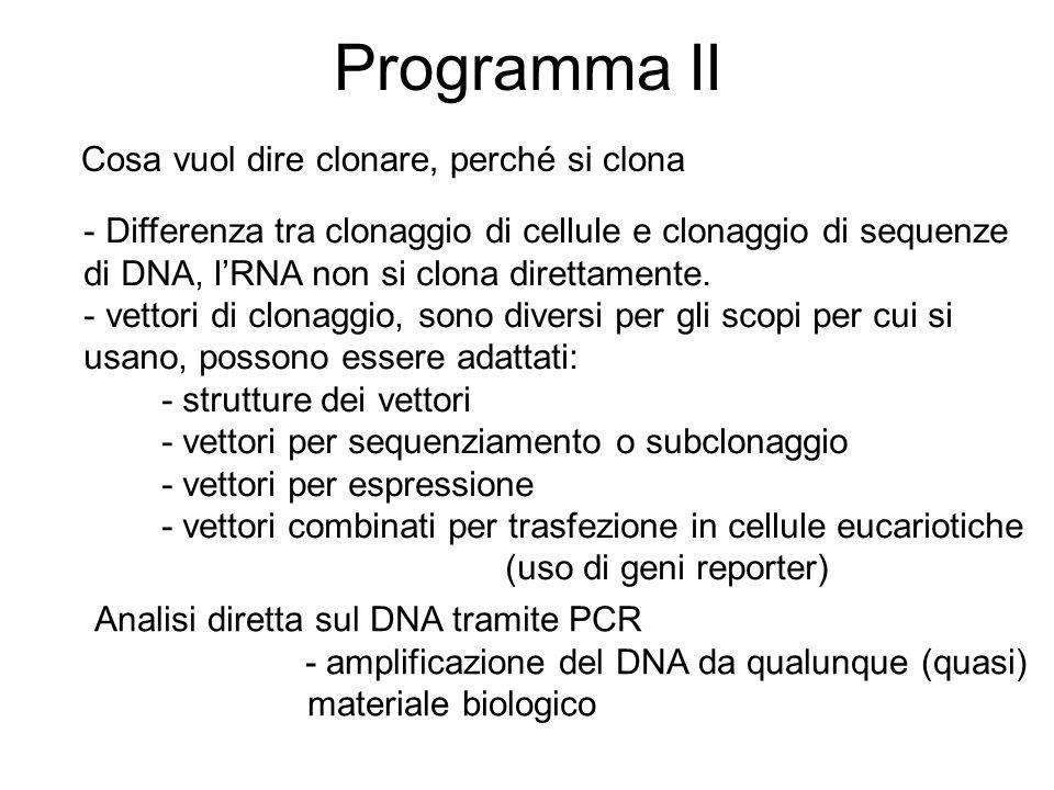 Programma III cercare sequenze di DNA in banca dati: per analogia, per funzione, per specie e fila, per identit à banche dati per categorie: genomiche, EST, cDNA, micro RNA, http://www.ncbi.nlm.nih.gov uso di parole chiave Manipolazione degli acidi nucleici Analisi in Silicio, in vitro, in vivo in silicio: Dal silicio al vitro : in vitro veritas Tecnica universalmente più diffusa : PCR
