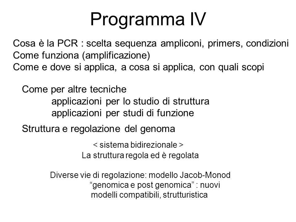 Programma IV Cosa è la PCR : scelta sequenza ampliconi, primers, condizioni Come funziona (amplificazione) Come e dove si applica, a cosa si applica,