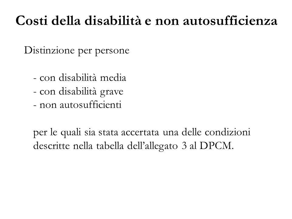 Distinzione per persone - con disabilità media - con disabilità grave - non autosufficienti per le quali sia stata accertata una delle condizioni desc