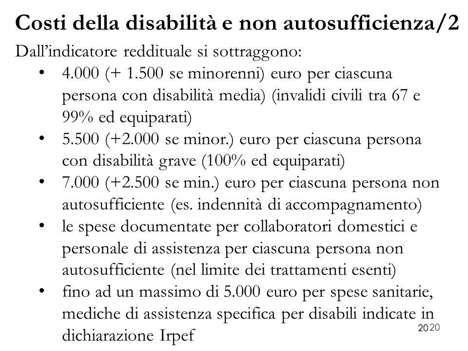 20 Dall'indicatore reddituale si sottraggono: 4.000 (+ 1.500 se minorenni) euro per ciascuna persona con disabilità media) (invalidi civili tra 67 e 9