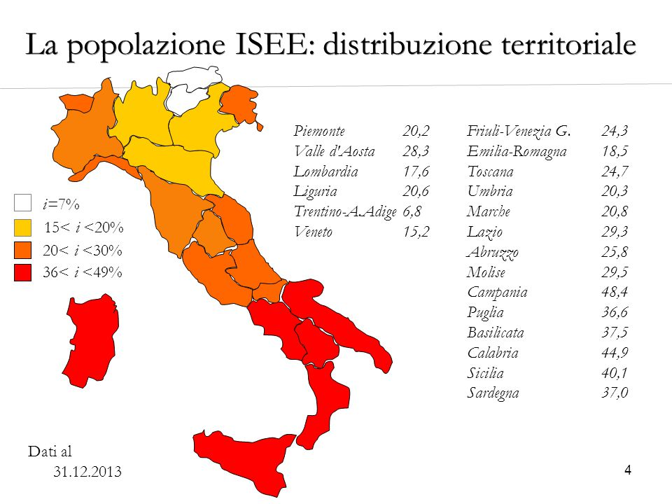4 i=7% 20< i <30% 15< i <20% 36< i <49% Piemonte20,2 Valle d'Aosta28,3 Lombardia17,6 Liguria20,6 Trentino-A.Adige6,8 Veneto15,2 Friuli-Venezia G.24,3
