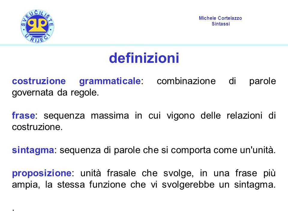Michele Cortelazzo Sintassi definizioni costruzione grammaticale: combinazione di parole governata da regole. frase: sequenza massima in cui vigono de