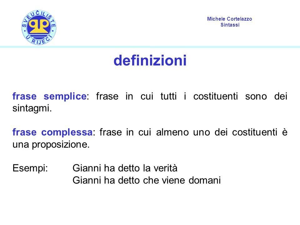 Michele Cortelazzo Sintassi definizioni frase semplice: frase in cui tutti i costituenti sono dei sintagmi. frase complessa: frase in cui almeno uno d