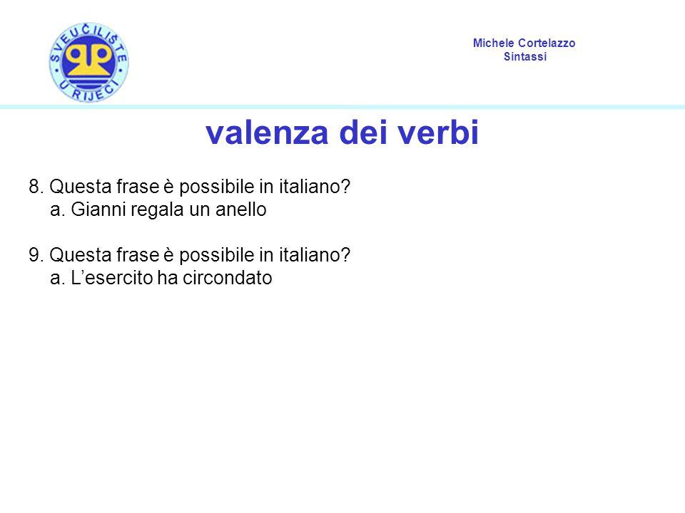 Michele Cortelazzo Sintassi valenza dei verbi 8. Questa frase è possibile in italiano? a. Gianni regala un anello 9. Questa frase è possibile in itali