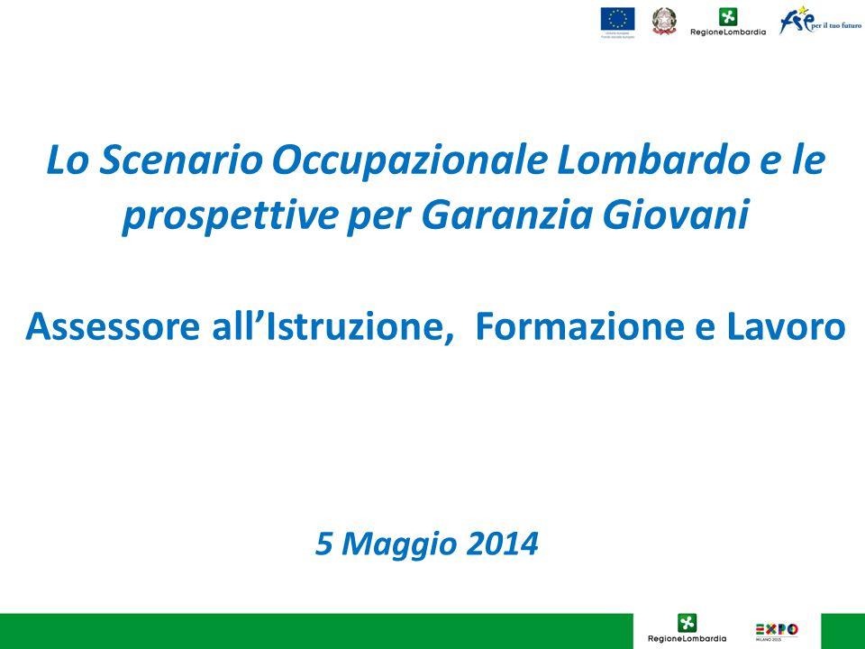 Lo Scenario Occupazionale Lombardo e le prospettive per Garanzia Giovani Assessore all'Istruzione, Formazione e Lavoro 5 Maggio 2014