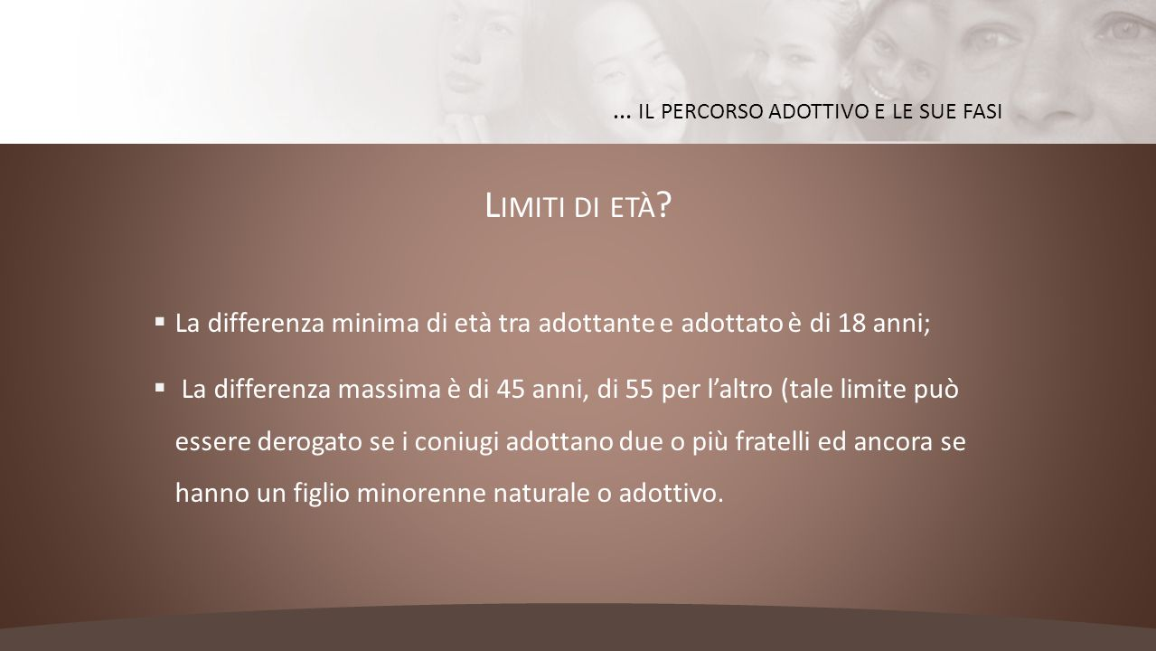 L IMITI DI ETÀ ?  La differenza minima di età tra adottante e adottato è di 18 anni;  La differenza massima è di 45 anni, di 55 per l'altro (tale li