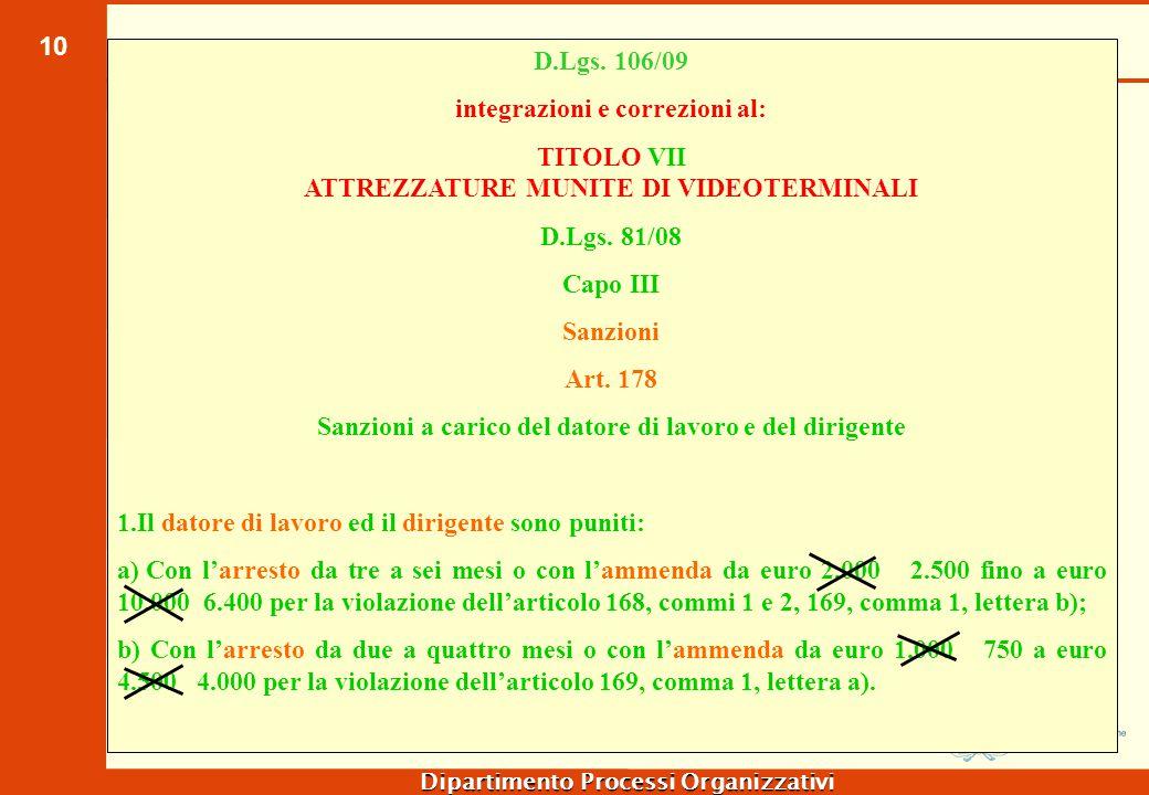 10 Dipartimento Processi Organizzativi D.Lgs. 106/09 integrazioni e correzioni al: TITOLO VII ATTREZZATURE MUNITE DI VIDEOTERMINALI D.Lgs. 81/08 Capo