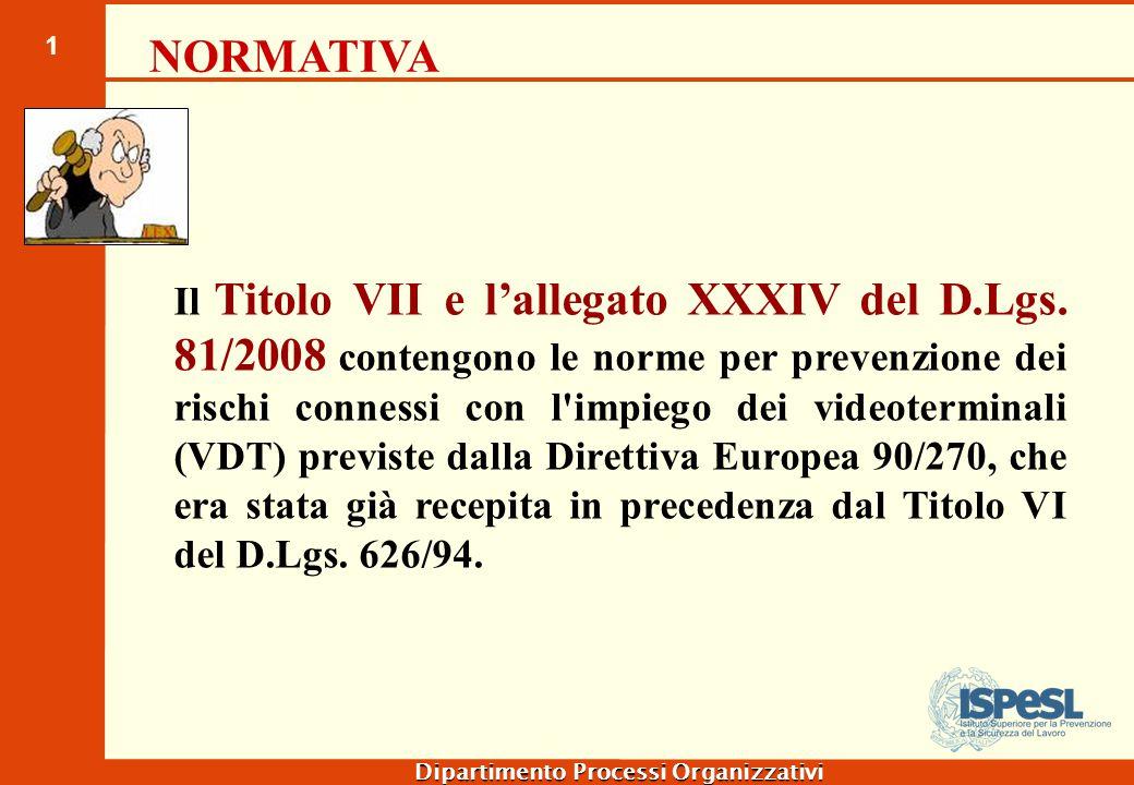 1 Il Titolo VII e l'allegato XXXIV del D.Lgs. 81/2008 contengono le norme per prevenzione dei rischi connessi con l'impiego dei videoterminali (VDT) p