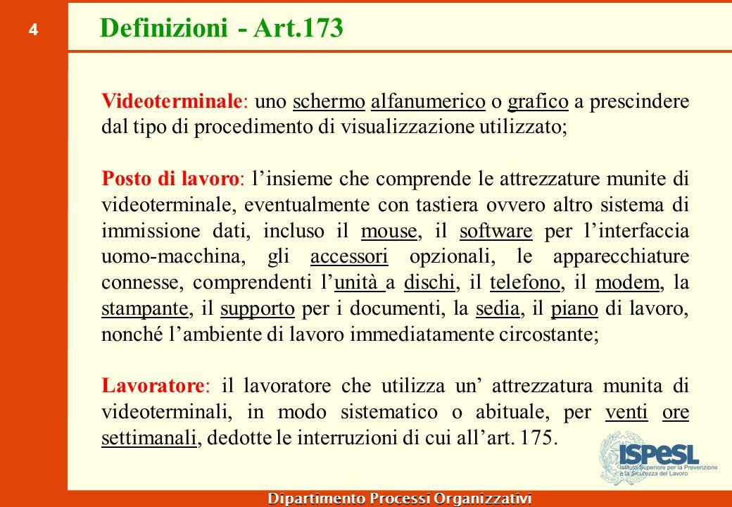 4 Dipartimento Processi Organizzativi Definizioni - Art.173 Videoterminale: uno schermo alfanumerico o grafico a prescindere dal tipo di procedimento