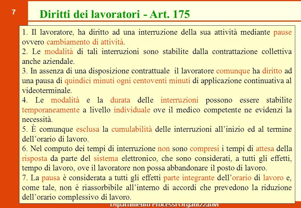 7 Dipartimento Processi Organizzativi Diritti dei lavoratori - Art. 175 1. Il lavoratore, ha diritto ad una interruzione della sua attività mediante p