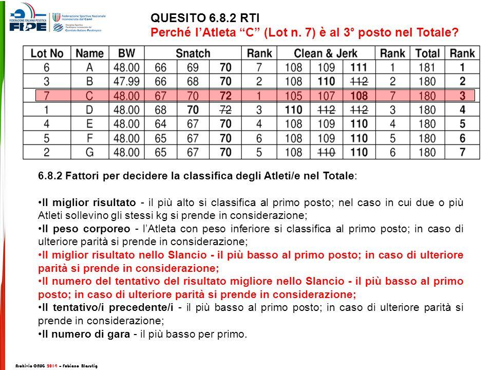 QUESITO 6.8.2 RTI Perché l'Atleta C (Lot n. 7) è al 3° posto nel Totale.