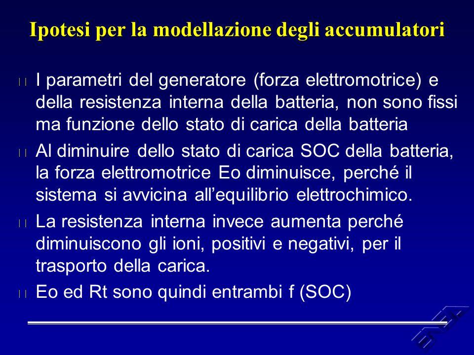 Ipotesi per la modellazione degli accumulatori u I parametri del generatore (forza elettromotrice) e della resistenza interna della batteria, non sono